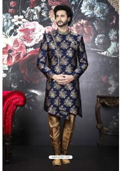 Royal Blue Readymade Designer Indowestern Sherwani For Men