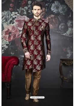 Maroon Readymade Designer Indowestern Sherwani For Men