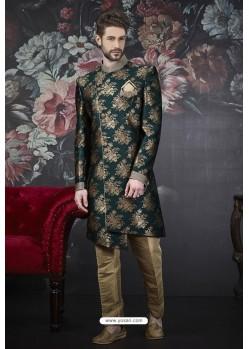 Dark Green Readymade Designer Indowestern Sherwani For Men
