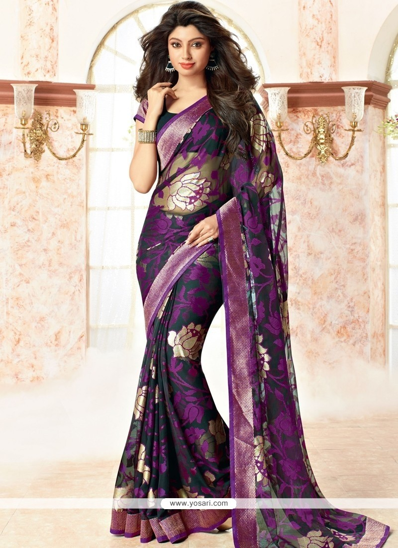 Ideal Brasso Georgette Purple Casual Saree
