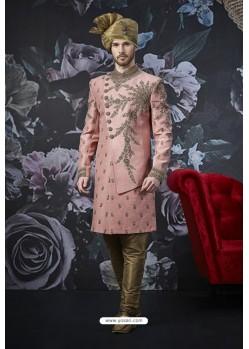 Pink Readymade Designer Indowestern Sherwani For Men