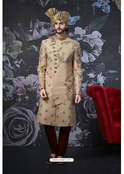 Beige Readymade Designer Indowestern Sherwani For Men