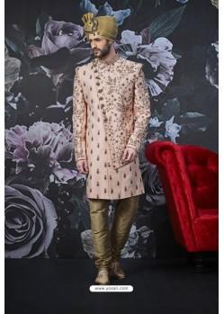 Baby Pink Readymade Designer Indowestern Sherwani For Men