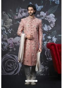 Old Rose Readymade Designer Indowestern Sherwani For Men