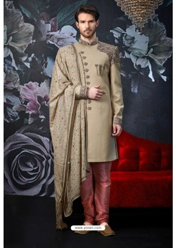 Taupe Readymade Designer Indowestern Sherwani For Men