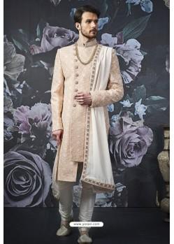 Light Beige Readymade Designer Indowestern Sherwani For Men
