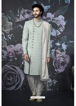 Aqua Grey Readymade Designer Indowestern Sherwani For Men