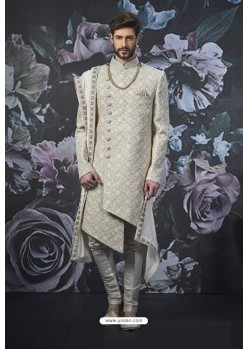 Off White Readymade Designer Indowestern Sherwani For Men