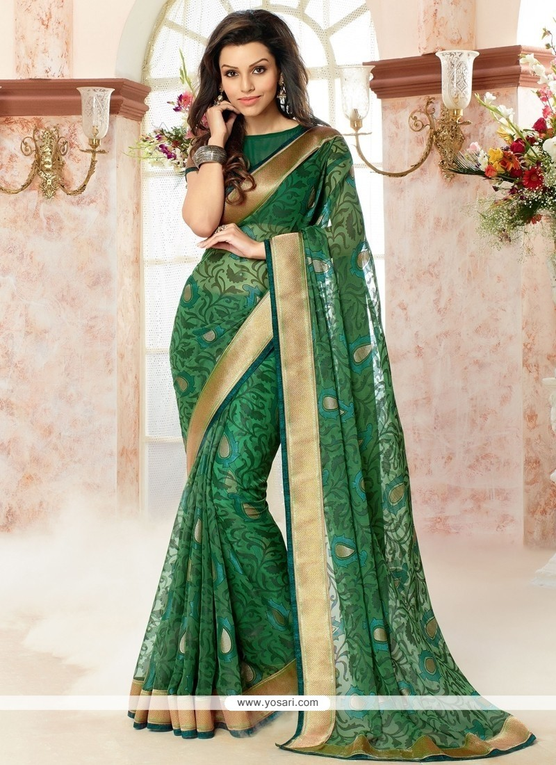 Excellent Patch Border Work Brasso Georgette Casual Saree