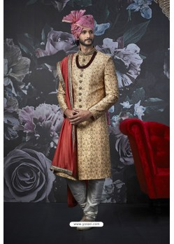 Gold Readymade Designer Indowestern Sherwani For Men