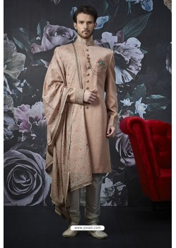 Light Brown Readymade Designer Indowestern Sherwani For Men