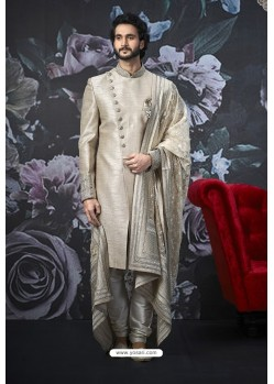 Light Grey Readymade Designer Indowestern Sherwani For Men