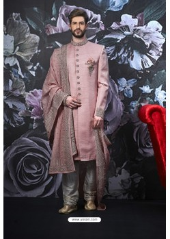 Pink Readymade Designer Indowestern Sherwani For Men
