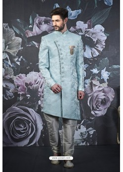 Aqua Grey Readymade Designer Indowestern Sherwani For Men