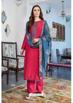Fuchsia Designer Party Wear Cotton Silk Palazzo Salwar Suit