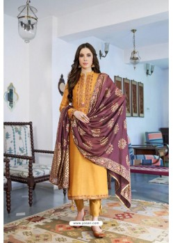 Mustard Designer Party Wear Cotton Silk Palazzo Salwar Suit