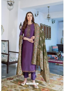 Purple Designer Party Wear Cotton Silk Palazzo Salwar Suit