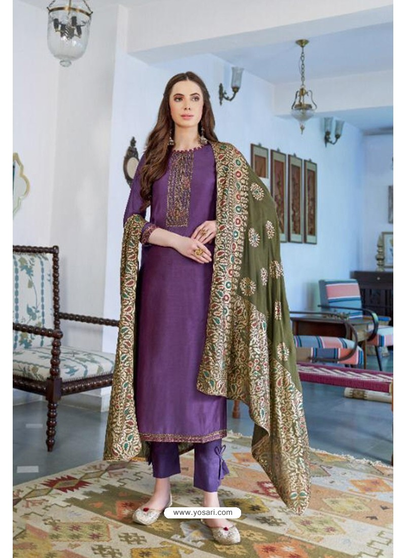 Purple Designer Party Wear Cotton Silk Palazzo Salwar Suit