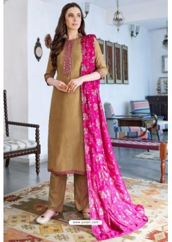 Beige Designer Party Wear Cotton Silk Palazzo Salwar Suit
