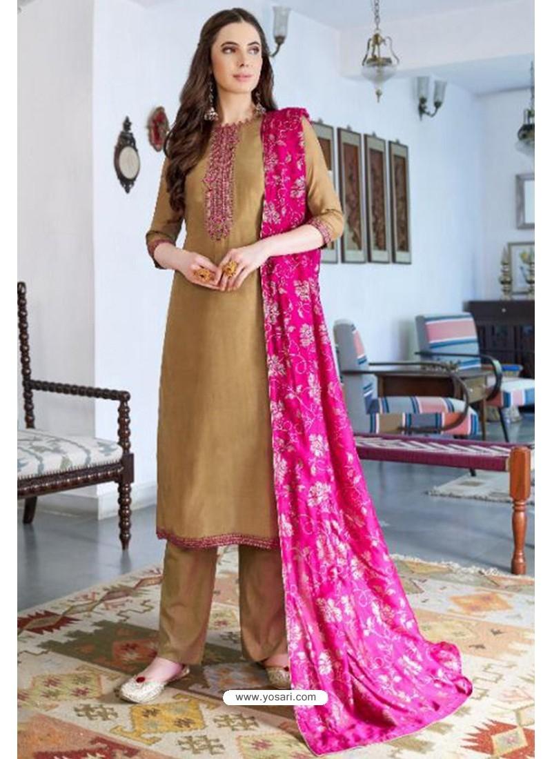 Beige Designer Party Wear Cotton Silk Palazzo Salwar Suit