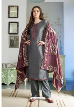 Grey Designer Party Wear Cotton Silk Palazzo Salwar Suit
