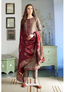 Camel Designer Party Wear Cotton Silk Palazzo Salwar Suit