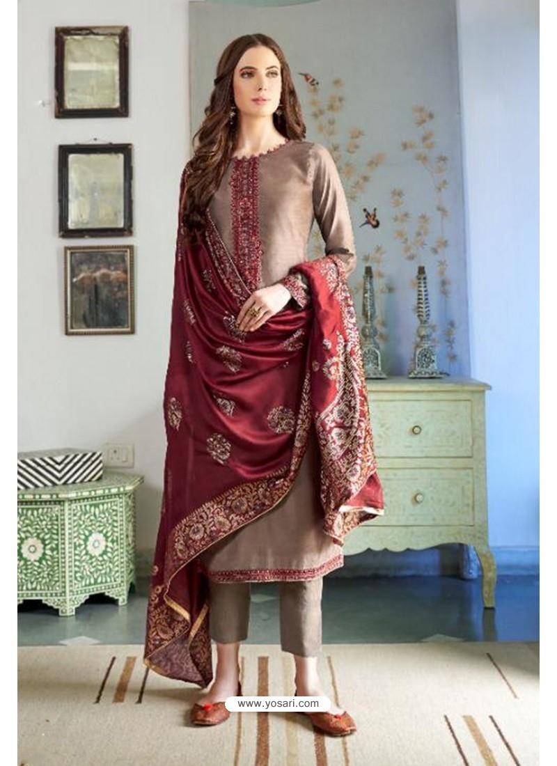 Camel Designer Party Wear Cotton Silk Palazzo Salwar Suit