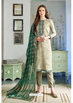 Olive Green Designer Party Wear Cotton Silk Palazzo Salwar Suit