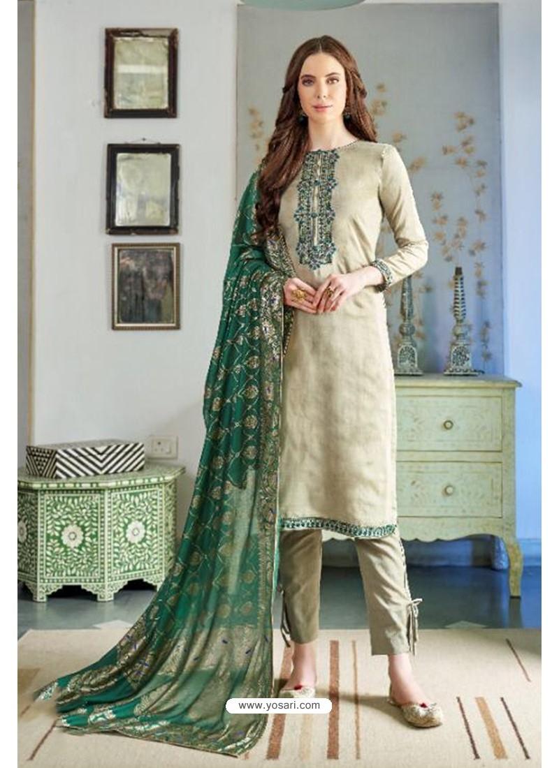 Olive Green Designer Party Wear Cotton Silk Palazzo Salwar Suit
