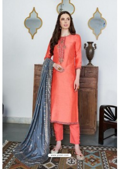 Dark Peach Designer Party Wear Cotton Silk Palazzo Salwar Suit