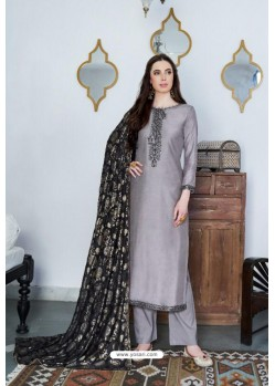 Silver Designer Party Wear Cotton Silk Palazzo Salwar Suit