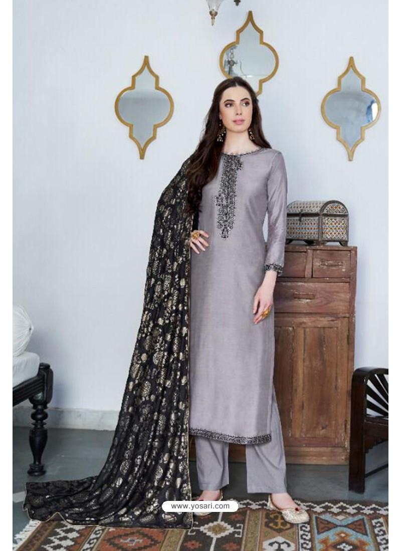 Silver Designer Party Wear Cotton Silk Palazzo Salwar Suit