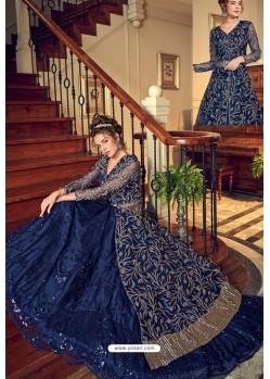 Dark Blue Designer Embroidered Wedding Anarkali Suit
