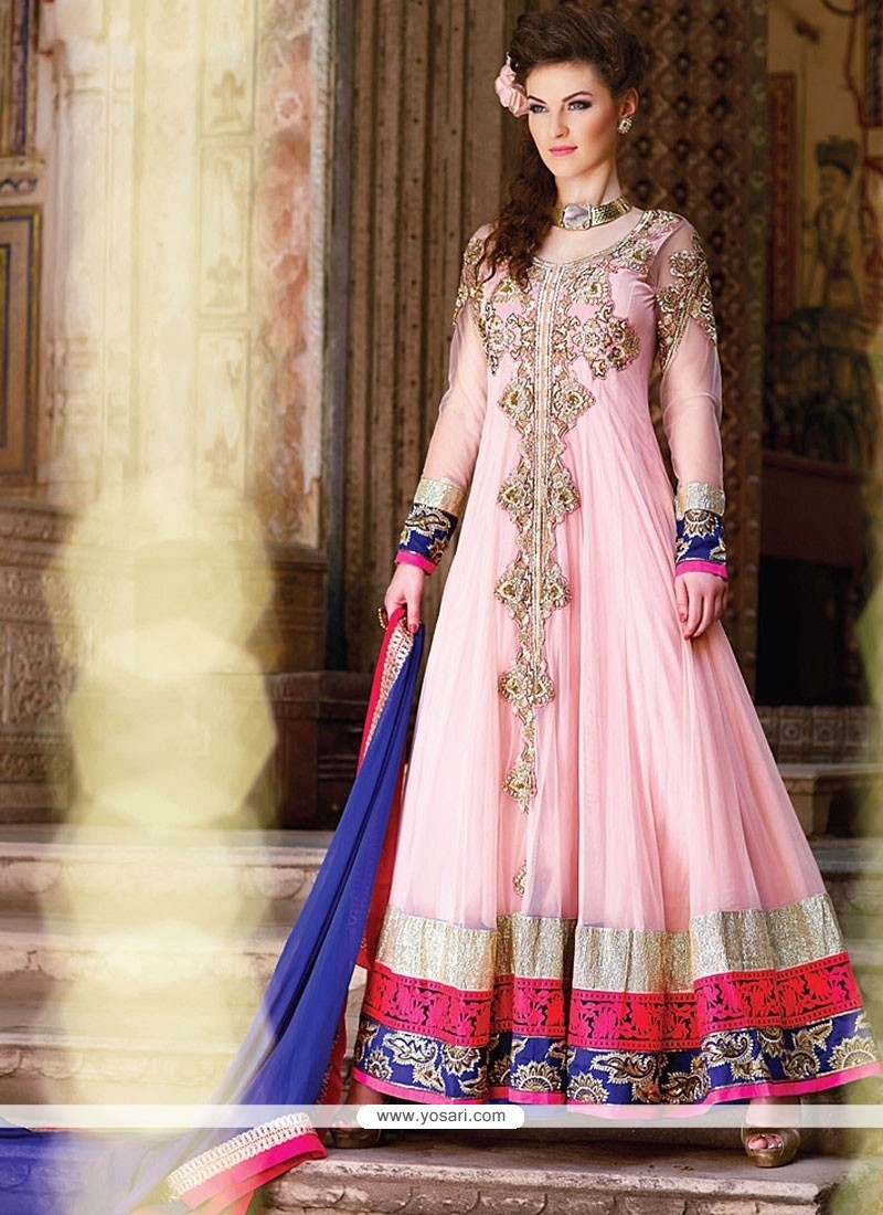 Glorious Pink Georgette Anarkali Salwar Suit