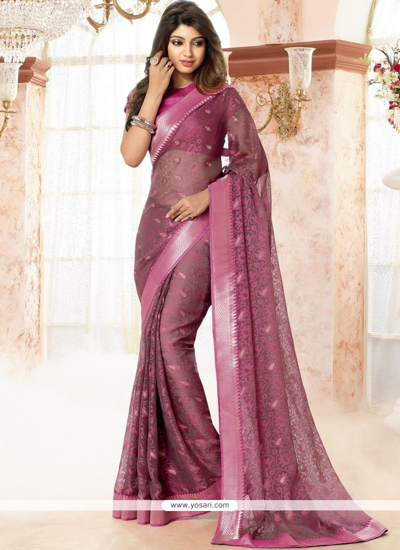 Brilliant Pink Casual Saree