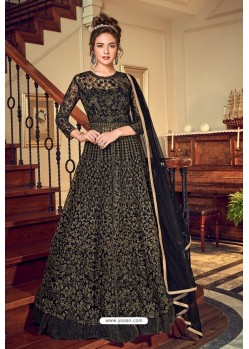 Black Designer Embroidered Wedding Anarkali Suit