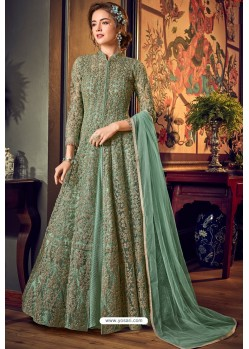 Sea Green Designer Embroidered Wedding Anarkali Suit