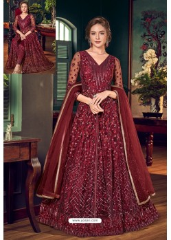 Maroon Designer Embroidered Wedding Anarkali Suit