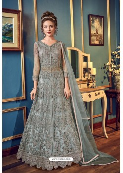 Grey Designer Embroidered Wedding Anarkali Suit