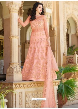 Light Orange Designer Embroidered Wedding Anarkali Suit