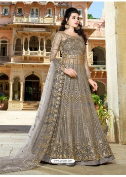 Light Brown Designer Embroidered Wedding Anarkali Suit