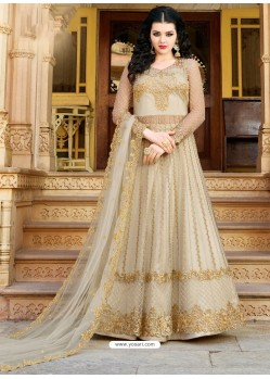 Light Beige Designer Embroidered Wedding Anarkali Suit