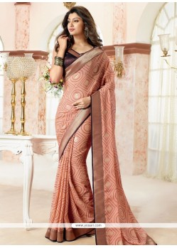 Astonishing Print Work Faux Chiffon Casual Saree