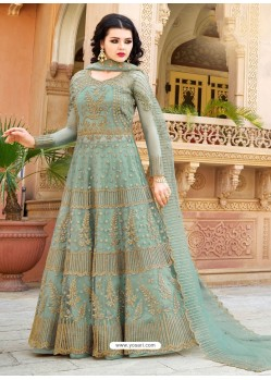 Grayish Green Designer Embroidered Wedding Anarkali Suit