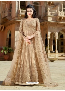 Beige Designer Embroidered Wedding Anarkali Suit