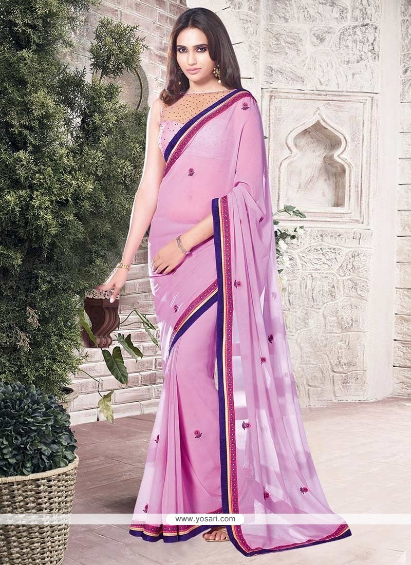 Topnotch Pink Lace Work Georgette Casual Saree