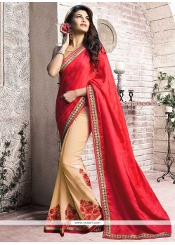 Jacqueline Fernandez Red And Beige Georgette Half N Half Designer Saree