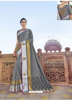 Grey Traditional Wedding Designer Embroidered Satin Silk Sari