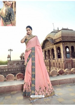 Pink Traditional Wedding Designer Embroidered Satin Silk Sari