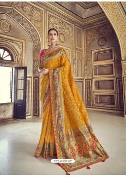 Mustard Wedding Designer Embroidered Satin Silk Sari